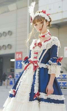 Hinana 【-Moira-】 [Navy Blue Dress X Wine Bows] Worn Photos