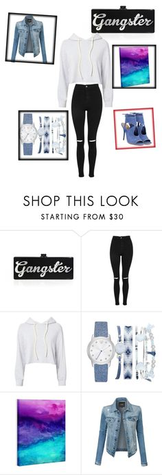 """""""Ganster in denim😈😇"""" by vanessabeauty13 ❤ liked on Polyvore featuring Edie Parker, Topshop, Monrow, A.X.N.Y., DENY Designs, LE3NO and Aquazzura"""