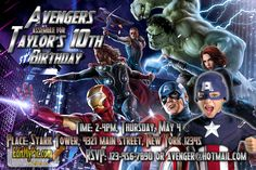 Celebrate a birthday or special event with a customized Avengers birthday party invitation featuring Iron Man, Thor, Captain America, The Hulk, Halkeye. and Black Widow  Save time & money by printing your own invites and announcements at your own photo service (Costco, CVS, Target, Walmart, Shutterfly, etc.)