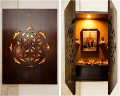 wall mounted pooja unit unit With Mandir 9 Wooden Pooja Mandir Designs for Homes -- Traditional, Portable & Temple Design For Home, Home Temple, Wooden Temple For Home, Gate Design, House Design, Small Room Interior, Mandap Design, Pooja Room Door Design, Design Bedroom