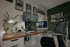 My updated 2021 battlestation/workstation Home Office Space, Office Desk, Desk Inspo, Computer Setup, Desk Set, Interior And Exterior, Corner Desk, Room, House