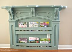 turn antique mantle to charming bookshelf with beadboard and a few pieces of trim