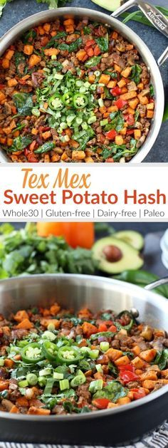 TEX MEX SWEET POTATO HASH   Make good use of taco meat leftovers and give this easy one-dish Sweet Potato Tex Mex Hash a try. A tasty Whole30 and egg-free breakfast option.  http://therealfoodrds.com/tex-mex-sweet-potato-hash/