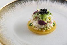 New Zealand Scampi Carpaccio. Italian Calvisius caviar, lime and honey citronette, diced seasonal vegetables, fresh herbs.