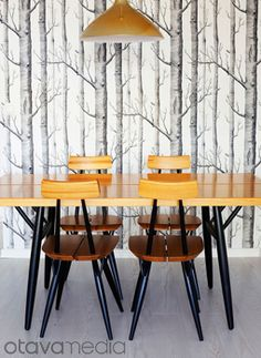 dining room - cole and son woods wallpaper - Available @ Maryland Paint & Decorating Birch Tree Wallpaper, Wood Wallpaper, Pattern Wallpaper, Scenic Wallpaper, Amazing Wallpaper, Forest Wallpaper, Dining Chairs, Dining Table, Dining Corner