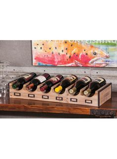 Vintage Wood Wine Rack with Label Placket for $90.00 from WineRacks.com  Dimensions: 25.37 w x 10 d x 4 h Capacity: 6 bottles  Vintage wood wine rack with metal trim and label plackets to add labels or descriptions to your wine storage.