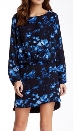 Vince Camuto Long Sleeve Floral Shades Center Fold Dress