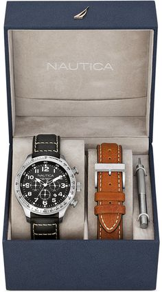 Nautica Watch Set, Men's Chronograph Interchangeable Black and Brown Leather Straps 44mm N17616G