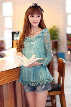 Loose Fit, Waist-tie, Lace Shirt, Silk Underlay, YRB0217, Blue, Black, Pink, Long Sleeve, 2014
