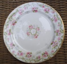 P.L. Limoges Pink Floral Green Leaves green Scrolls Bread Plate #PLLimoges