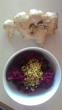 Beetroot and hempseed salad with ginger tea, medicinal food for the more mature lass.