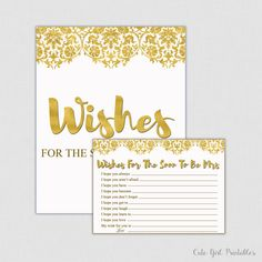Wishes for the Bride - Bridal Shower - Bridal Shower Game - Wedding - Advice Cards - Bride To Be - Instant Download 0010G