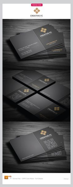 Powerful dark corporate business cards design, on dark gray background layout divided into two parts for clean business cards effect. Elegant by using white color text and gold for corporate logo, and modern with integration of QR code.