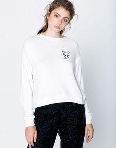Pull&Bear - donna - teen girls collection - felpe - felpa alien - bianco - 09590332-I2016