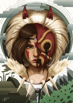 "My Poor, Ugly, Beautiful Daughter by Papercloudzy.deviantart.com on @DeviantArt - San from Miyazaki's ""Princess Mononoke"""