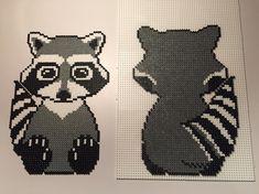 Raccoon hama beads by twinsies_mommy Perler Beads, Fuse Beads, Hama Beads Animals, Beaded Animals, Fuse Bead Patterns, Beading Patterns, Raccoon Craft, Hama Art, Hama Beads Design