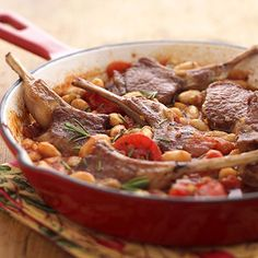 TUSCAN LAMB CHOP SKILLET - 6 pts per serving: 2 rib lamb chops is one serving Here's a healthy and fast recipe. Let the lamb and tomato-bean mixture simmer in a skillet and in 20 minutes, dinner is do is one serving ne. Lamb Recipes, Wine Recipes, Low Carb Recipes, Cooking Recipes, Healthy Recipes, Diabetic Recipes, Diabetic Foods, Cooking Ideas, Meat Recipes