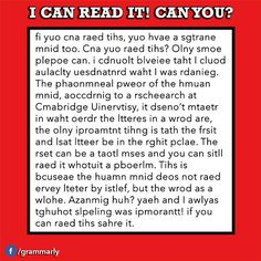 Spelling is important (... but isn't the brain amazing? )