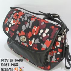 """‼️LOWEST‼️ Coach Park Splatter Cross Body BNWT. Beautiful print and supple black leather. Highly polished nickel hardware. Black leather adjustable strap with up to a 22"""" drop. Front flap with turnlock closure. There is a rear pocket that runs the length of the bag. All items are from a smoke/pet free home. ❗️PRICE FIRM❗️ Coach Bags Crossbody Bags"""