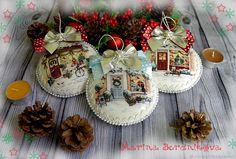 """Купить """"Рождественский городок"""" Новогодние подвески в интернет магазине на Ярмарке Мастеров"""