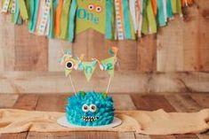 Monster 1st Birthdays, Monster Birthday Parties, First Birthdays, 1st Birthday Cake Topper, First Birthday Cakes, Cake Bunting, Bamboo Skewers, Birthday Decorations, Handmade