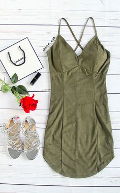 Sexy army green criss cross dress outfit for party. And only $14.99 for dress at shein.com.