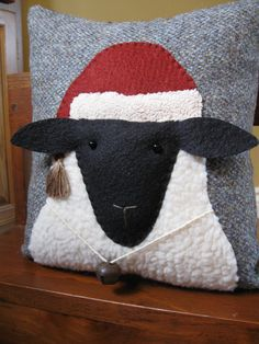 Christmas Sheep Primitive Pillow by Justplainfolk on Etsy