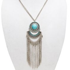 Silver Fringe Turquoise Statement Necklace Ask me to make another listing to get discounted shipping. No TradesPrices are negotiable. Please use the offer button. Jewelry Necklaces