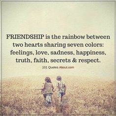 Friendship is the rainbow between two hearts sharing seven colors : feelings, love, sadness, happiness, truth, faith, secrets & respect.