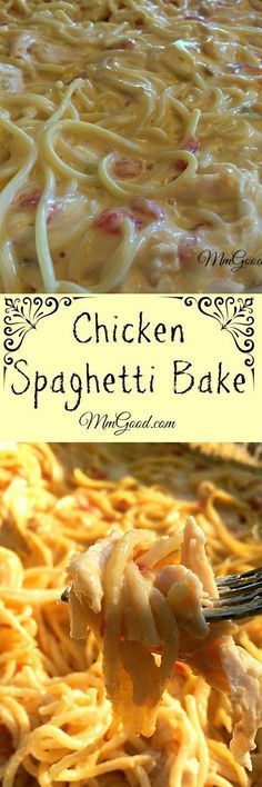 spaghetti bake is a great combination of chicken with cheese and spaghetti.the secret is using rotel canned tomatoes! This casserole a family favorite, it's great for company, football games and even for potluck.you will love this recipe! Huhn Spaghetti, Baked Chicken Spaghetti, Spaghetti Squash, Spaghetti Recipes, White Spaghetti Recipe, Taco Spaghetti, Cheese Spaghetti, Crockpot Recipes, Chicken Recipes