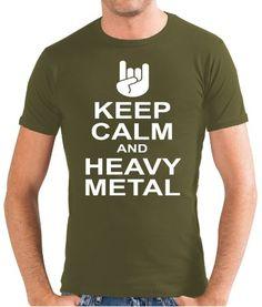 Touchlines Slimfit T-Shirt Keep Calm and Heavy Metal - Camiseta para hombre, color verde oliva, talla S #regalo #arte #geek #camiseta