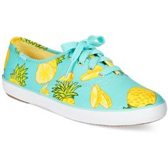 Keds Women's Champion Printed Oxford Sneakers Women's Shoes ($50) ❤ liked on Polyvore featuring shoes, sneakers, pineapple, pineapple shoes, keds, keds oxford, oxford shoes and keds shoes