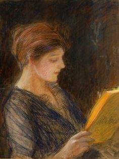 Portret Zofii Goldstand , ca 1905, Teodor Axentowicz. Polish (1859 - 1938 ) - Pastel on Paper -