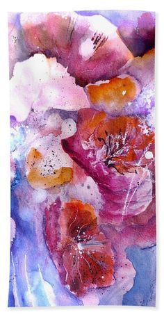 Spring Meadow bath towel from original watercolor painting by Sabina von Arx Spring Flowers, Poppy Flowers, Pink Bathroom Decor, Large Beach Towels, Abstract Flowers, Painting Techniques, Colorful Backgrounds, Watercolor Paintings, Meadow Garden