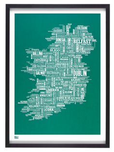 Ireland Map - decorative screen print