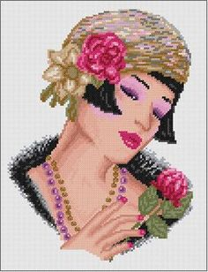0 point de croix portrait femme charleston - cross stitch charleston portrait woman