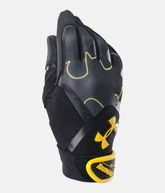 Under Armour UA Youth Batman 🦇 Batting Gloves Cleanup. These Batting Gloves are Black and yellow with a batman design on glove as well as the word. Batman on cuff and UA logo in yellow as well. Youth Baseball Gloves, Baseball Helmet, Chicago Cubs Baseball, Tigers Baseball, Baseball Scoreboard, Softball Equipment, Black Batman, Batting Gloves, National League