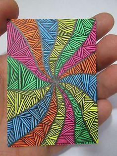 "ACEO Original ""Color Tunnel Zentangle"" Black Light Collectible Artist Card ATC"