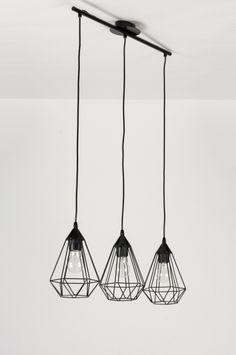Hanglamp 10223: Modern, Zwart, Metaal, Langwerpig