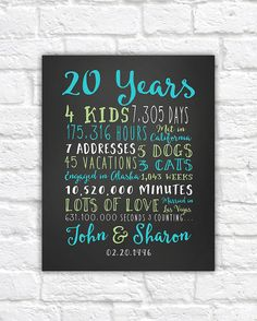 20th Anniversary Gift, 20 Year Wedding Anniversary, Anniversary Gift for Parents Anniversary, Twenty Year, 10 year, 15 Year, 30 Year, Mom