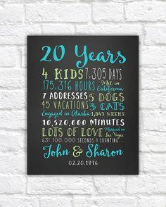 20th Anniversary Gift, 20 Year Wedding Anniversary, Anniversary Gift for Parents Anniversary, Twenty Year, 10 year, 15 Year, 30 Year, Mom