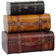 This decorative suitcase trunks that is great for storage and decoration. Crafted from polywood faux leather, this chest features old-fashioned hardware that adds to the antiuqued look.