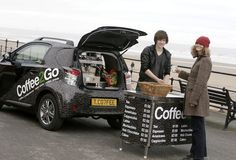 Jason Bowes adapted his Toyota iQ into a mobile coffee shop - great workmanship and entrepreneurial too!