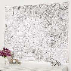 Vintage Paris Map Tapestry