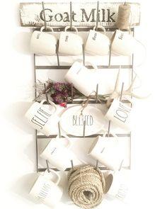 Farmhouse coffee mug wall rack, wine bottle dry rack, glasses wall rack