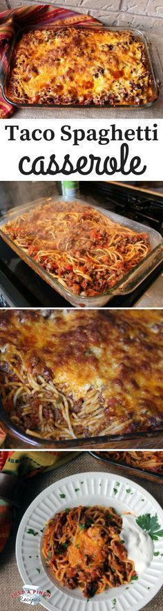 Taco Spaghetti Casserole - Taco Spaghetti Casserole An easy prep casserole that cooks in one pot before it is baked. The post Taco Spaghetti Casserole appeared first on Rezepte. Taco Spaghetti, Spaghetti Squash, Mexican Spaghetti, Spaghetti Recipes, Beef Dishes, Pasta Dishes, Food Dishes, Main Dishes, One Pot Meals