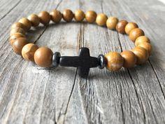 Gemstone bracelet men bracelet bracelet with cross door KennlyDesign