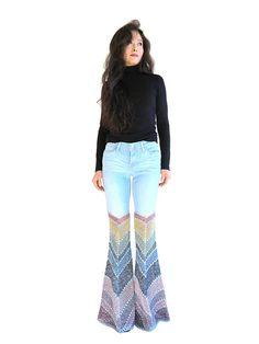 Jeans Size 27  Crochet Embellished Levi's Bellbottom
