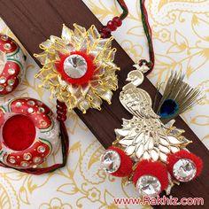 Perfect Combo Of Gota Pom Pom For Bhaiya Bhabhi Flower Jewelry, Gold Jewelry, Designer Jewelry, Jewelry Design, Buy Rakhi Online, Handmade Rakhi Designs, Raksha Bandhan Images, Rakhi Making, Diy Crafts For Gifts