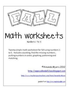 Fall Worksheets Numbers 1 to 5  $